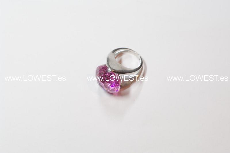 anillo plata rosa