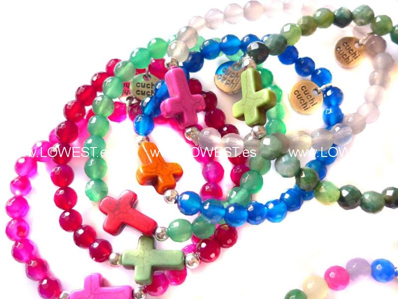 pulseras cruces brillantes