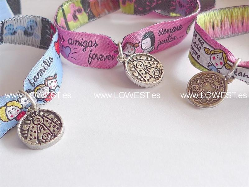 medallitas pulseras mensaje