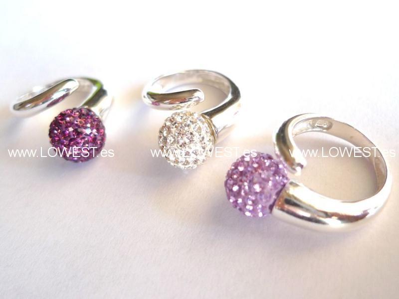 anillo plata cristal